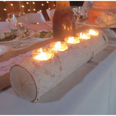 Birch Log Votive Light Candle Holder Wedding Home Decor Table... (€31) ❤ liked on Polyvore featuring home, home decor, candles & candleholders, reception centerpieces, wooden candlestick holders, wedding candle holders, wood centerpieces and rustic candle holders