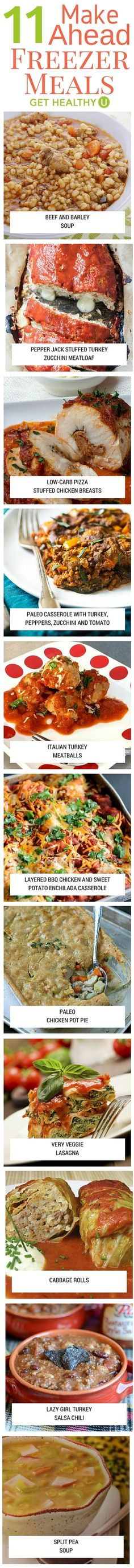 11 Make Ahead Freezer Meals - Get Healthy U - Play more & cook less! Make meal planning a snap with these 11 healthy make-ahead freezer recipes! These recipes are easy and Get Healthy U-tested so we promise you will love them! Healthy Meals For One, Healthy Eating Recipes, Healthy Cooking, Get Healthy, Healthy Foods, Healthy Habits, Make Ahead Freezer Meals, Freezer Recipes, Easy Meals