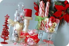 Candy and Ornament jars-Dollar store decorating