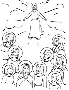 Communion of Saints Catholic Coloring Page Free to Print.  Feast of All Saints is November 1st.