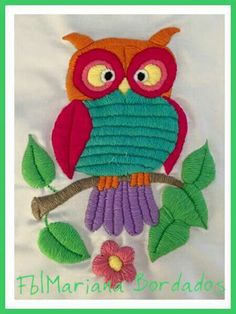embroidered owl Types Of Embroidery, Embroidery Needles, Free Machine Embroidery Designs, Modern Embroidery, Embroidery Art, Embroidery Patterns, Needlepoint Stitches, Needlework, Hand Work Design