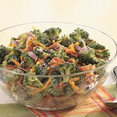 Broccoli, Bacon and Cheddar Salad - Huge hit at all cookouts - minus raisins.