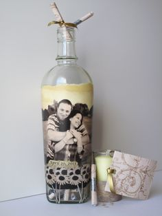 Message in a Bottle Guestbook, Hand Painted Bottle With Your Photo, Wedding Guestbook Alternative, 1st Anniversary Message Guest Book. $65.00, via Etsy.