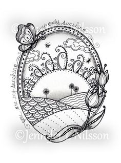 Sunshine Fields Original ink and graphite Zentangle by JLNilsson, $20.00