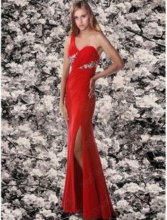 Chiffon One-shoulder Bodice Mermaid Red Evening Dress - Vuhera.com