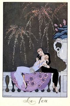 """The Fire, Illustration for """"Fetes Galantes"""" by Paul Verlaine (1924)"""