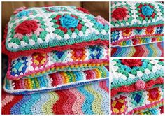 Granny square with rose, crochet cushion