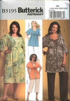 Butterick Sewing Pattern 5195 Womans Plus Size 18W-24W Easy Top Dress Tunic Pants Knit Tank Top
