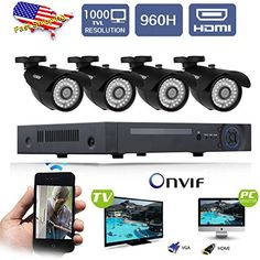 FLOUREON 8CH 960H HDMI CCTV DVR + 4 In/Outdoor Bullet Night Vision Camera 1000TVL Waterproof IR-Cut Security Cameras Kit,No HDD
