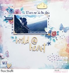 Hi everyone! It's Sue here today to share my latest creation using the Wild at Heart collection with you. For this layout, I chose to document a recent photo of my hubby mountain climbing. I must admit, seeing photos of him like this fill me with a mix of happiness, pride and fear. First, I