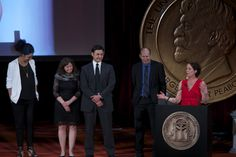 """Robyn Semien, Linda Lutton, Ben Calhoun, Alex Kotlowitz and Julie Snyder accepted the 2013 Peabody Award for """"This American Life: Harper High School."""""""