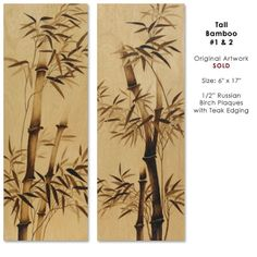 Tall Bamboo Woodburned Birch Gallery Page 2: Pyrography Illustrations by Cate McCauley