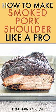 Do you want juicy, smoked pork shoulder for pulled pork sandwiches, nachos, Cuban sandwiches, and more? This smoked pork butt recipe is easy to make at home with only a few simple ingredients. This flavorful tender meat is also perfect for feeding a crowd. You're gonna love this melt-in-your-mouth smoked pork shoulder (pork butt) that can be prepared right on your grill. No smoker required! Click through to get this awesome smoked pork recipe!! #smokedporkshoulder #smokedporkbutt #porkrecipes Easy Potluck Recipes, Healthy Grilling Recipes, Gourmet Recipes, Gourmet Foods, Drink Recipes, Dinner Recipes, Smoked Pork Shoulder, Pork Shoulder Recipes, Dry Rub Recipes