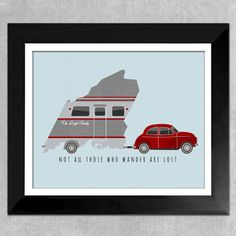 Retro Camper State Art Print Personalized by InvitingMoments Custom Campers, Retro Campers, Camping Drinks, Best Wedding Gifts, State Art, Custom Framing, Vintage Looks, Red And Blue, Personalized Gifts