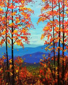 Ideas Painting Ideas Landscape Canvases - Trend Topic For You 2020 Fall Canvas Painting, Canvas Painting Landscape, Winter Painting, Watercolor Landscape, Landscape Nursery, Fall Paintings, Painting Trees, Simple Acrylic Paintings, Paint And Sip