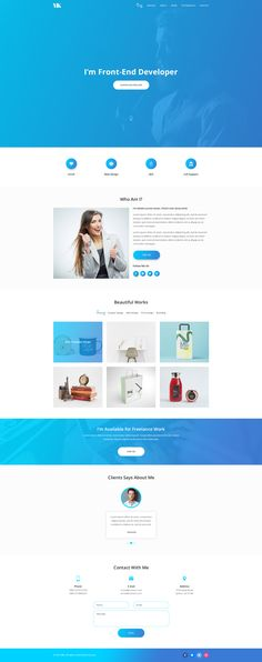 Features MK – Personal Portfolio PSD template designed in Photoshop with a modern look.PSD files are well organized and named accordingly so its very easy to customize and update. #webdesign #portfolio