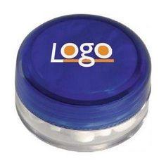 Potje met schroefdeksel pepermuntjes 231532  Kunststof potje met schroefdeksel en ca. 12 g suikervrije pepermuntjes.