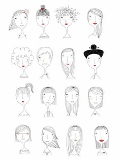 Elichkata ladies diy アート, character illustration, hair illustration, people illustration, line art People Illustration, Illustrations, Illustration Art, Character Illustration, Doodle Drawings, Easy Drawings, Illustration Mignonne, Drawn Art, Doodles