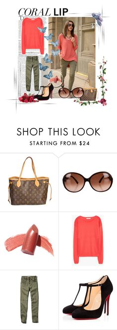 """""""Spring Beauty: Corals"""" by lilika98 ❤ liked on Polyvore featuring Louis Vuitton, Emilio Pucci, Elizabeth Arden, MANGO, Abercrombie & Fitch, Christian Louboutin, Balmain, women's clothing, women and female"""