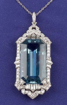 {Art Deco Platinum, Aquamarine and Diamond Pendant}