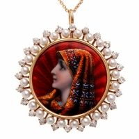 Antique Victorian French Enamel Diamond Gold Pin Pendant
