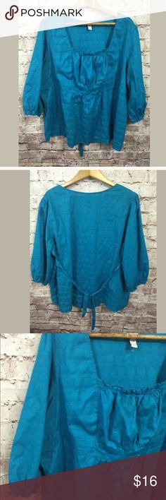 Lane Bryant 26 28 4X Peasant Top Polka Dot 3/4 Sl Good condition. Smoke-free.   Chest measures 54 inches around.  From shoulder seem to bottom 30.5 inches.  W17  Venezia Lane Bryant 26 28 4X Peasant Top Teal Blue Polka Dot 3/4 Sleeve Venezia Tops