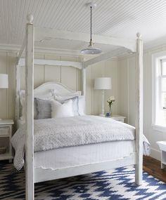 blue chevron rug - white four poster, beadboard ceiling - Muskoka Living Interiors » Talk of the House
