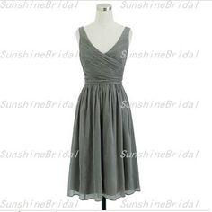 A-line V-neck Sleeveless Knee-length Chiffon Pleat Short Fashion Bridesmaid Dresses Short Prom Dress Formal Evening Dress 2014 New Arrival
