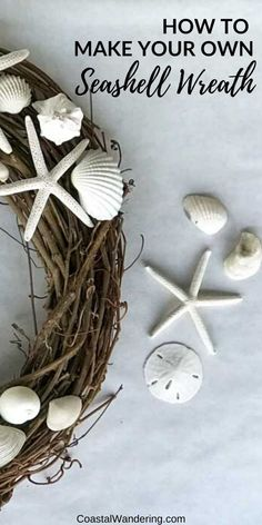 This easy DIY seashell wreath is made with seashore finds on a natural base. A shell wreath perfect to bring coastal charm to your home. Coastal Wreath, Coastal Christmas Decor, Nautical Wreath, Seashell Wreath, Nautical Christmas, Seashell Display, Beach Wreaths, Christmas Tree, Seashell Projects