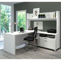 Bestar Pro-Linea L-Desk with Open hutch in White – Creative Home Office Design Office Desk With Hutch, L Shaped Office Desk, L Shaped Executive Desk, L Desk, Desk Hutch, L Shaped Desk, Home Office Desks, Home Office Furniture, Furniture Deals