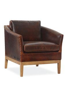 Leather Chair with Wooden Base, L1423-01, Lee Industries