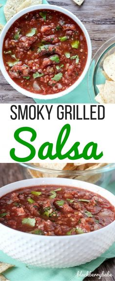 This smoky grilled salsa is my new FAV! It tastes a lot like the salsa at Chevy's Fresh Mex. Recipe from www.blackberrybab....