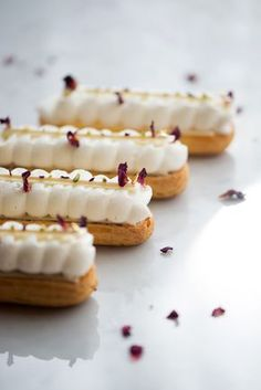 Strawberry Rose Eclairs Now, Forager Teresa Floyd Photography What Luxuries In L… – Amanda Tremblay - special Patisserie Fine, French Patisserie, Köstliche Desserts, Delicious Desserts, Dessert Recipes, Plated Desserts, Pastry Recipes, Baking Recipes, Eclair Recipe