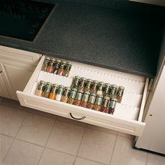 Range pots à épices blancs pour tiroir