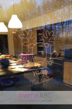 #Krijtstift #raamtekening #winter #rendier #kerst #kerstballen  Review door blog MamaABC voor webshop #krijtstifttekening