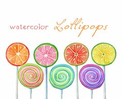 Digital Clipart, Watercolor Lollipops, Watercolor Sweets, Candy, Birthday, Invitation on Etsy, $4.62 AUD