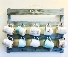 Coffee Mug Wall Rack, Coffee Mug Holder, Coffee Wall Art, Mug Rack, Coffee Cups, Turquoise Home Decor, Diy Cupboards, Coffee Gifts