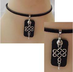 Silver & Black Leather Celtic Knot Choker Necklace Handmade Adjustable new  #Handmade #Choker