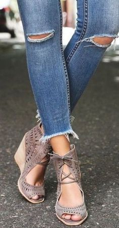 Just can't get over how much I love these laser cute lace up wedges by Jeffrey Campbell!
