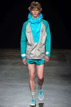 Highlight of the SS16 Menswear by Topman Design, Cagoule coat and mini sporty shorts, noted!