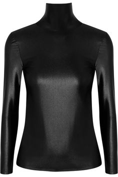 Balenciaga - Open-back Stretch-satin Turtleneck Top - Black - FR42