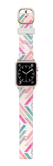 Casetify Apple Watch Band (38mm) Casetify Band - Watercolor  pink coral turquoise aztec arrows pattern watch by Girly Trend #Casetify