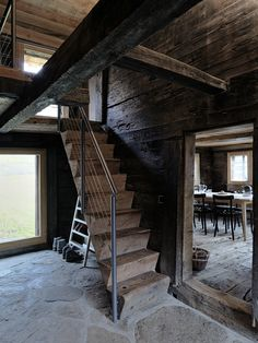 Browse Remodelista posts on Design Travel to get ideas for your home remodeling or interiors project. The posts below highlight a range of solutions using Design Travel across a variety of budget levels. Rustic Stairs, Wooden Stairs, Rustic Wood, Cabana, Chalet Style, Cabins And Cottages, Stair Railing, Log Homes, Stairways