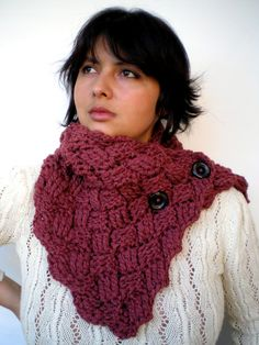 Chess Fashion Crochet Cowl Soft mixed Wool  by GiuliaKnit on Etsy
