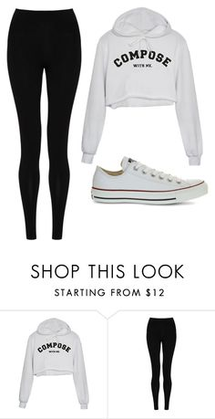 """Untitled #451"" by cuteskyiscute ❤ liked on Polyvore featuring M&S Collection and Converse"