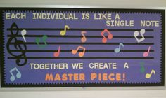 A bulletin board for the chorus and band teacher.
