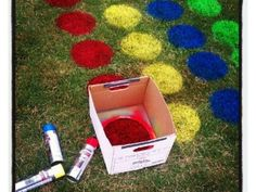 Grab some spray paint- we're playing twister! #DIY Twister yard game. Awesome idea for a summer party. #summerfun #timetoplay