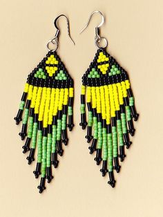Native American Seed Bead Dangle Earrings by NativeWorks on Etsy, $18.00