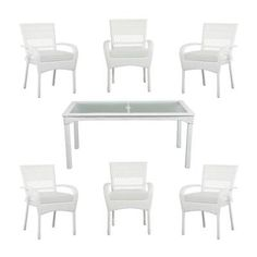 Martha Stewart Living Charlottetown White All-Weather Wicker 7-Piece Patio Dining Set with Bare Cushions-55-55677W - The Home Depot