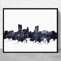 Fort Wayne Print, Fort Wayne Skyline, Fort Wayne Indiana, Office Decor, Office Art, Watercolor Skyline, Watercolor City Print, ArtPrintZone #OfficeDecoration #CitySkylinePrints #CitySkylineArt #WatercolorCity #ArtPrint